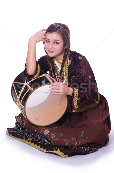 Young azeri woman playing traditional drum nagara Stock photo © Elnur