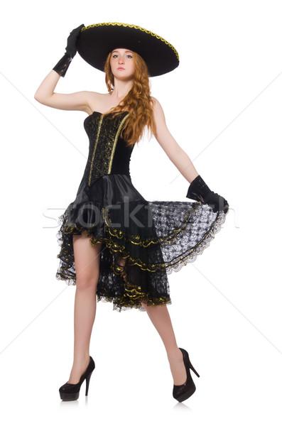 Grappig Mexicaanse sombrero hoed vrouw danser Stockfoto © Elnur