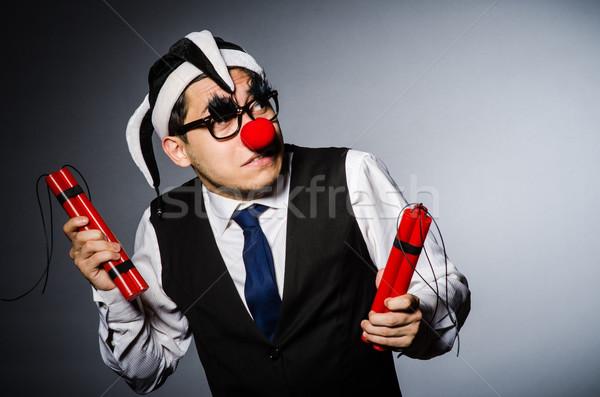 Drôle clown dynamite fête visage travaux Photo stock © Elnur