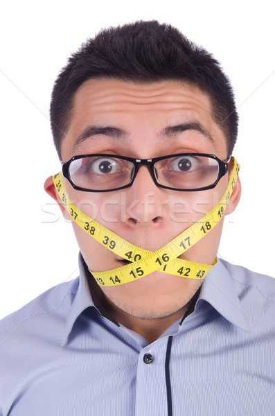 Man with centimeter in dieting concept Stock photo © Elnur