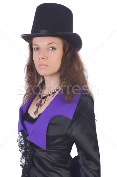 girl wearing violet and black dress isolated on white Stock photo © Elnur