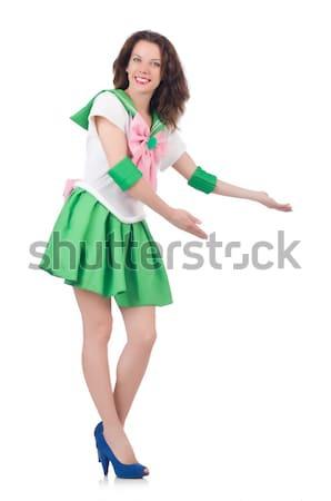 Vrouwelijke model cosplay kostuum geïsoleerd witte Stockfoto © Elnur