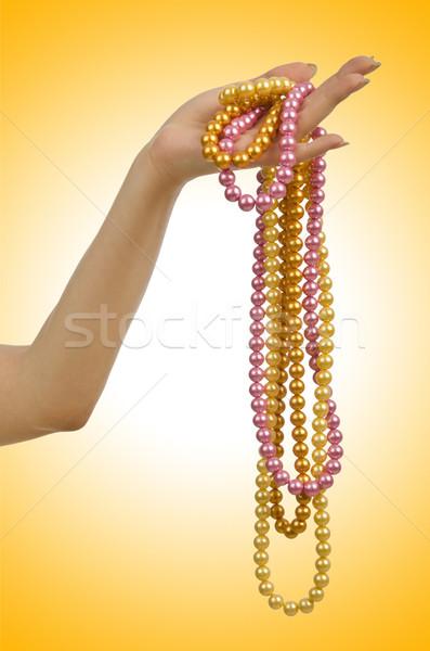 Parel ketting hand witte abstract achtergrond Stockfoto © Elnur