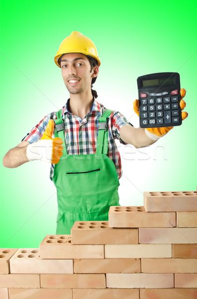 Stock fotó: Drága · építkezés · építész · számológép · háttér · üzletember