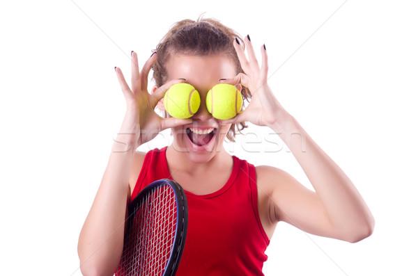 Stock fotó: Nő · teniszező · izolált · fehér · háttér · nyár