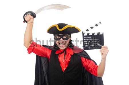Pirate girl holding chest box and sword isolated on white Stock photo © Elnur