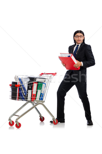 Man with business folders isolated on white Stock photo © Elnur