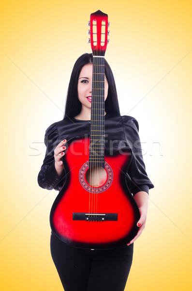 Gitarist geïsoleerd witte vrouw partij gitaar Stockfoto © Elnur