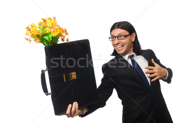 Stock photo: Handsome businessman with flower and brief case isolated on white