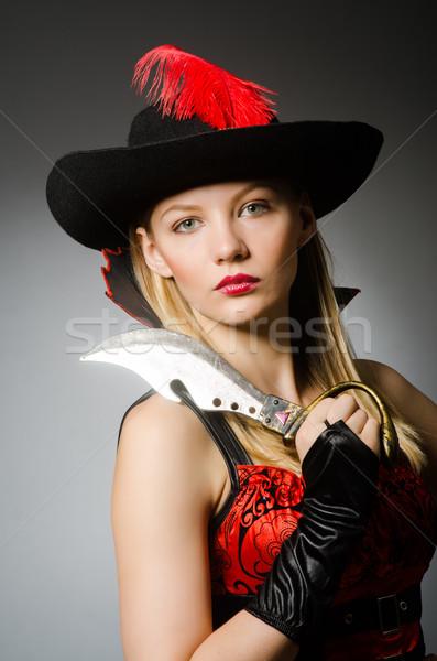 Nő kalóz éles kés kéz divat Stock fotó © Elnur