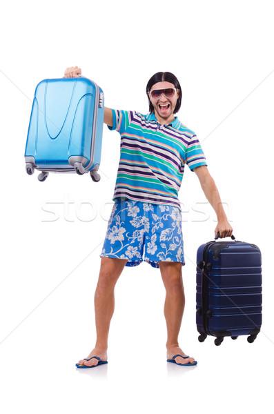 男 旅行 スーツケース 孤立した 白人 白 ストックフォト © Elnur