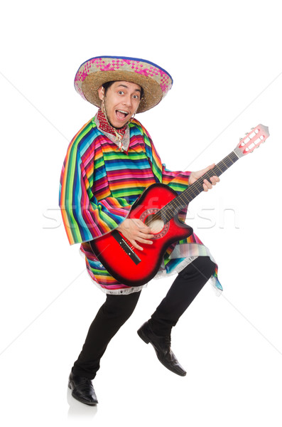 Vicces mexikói gitár izolált fehér buli Stock fotó © Elnur