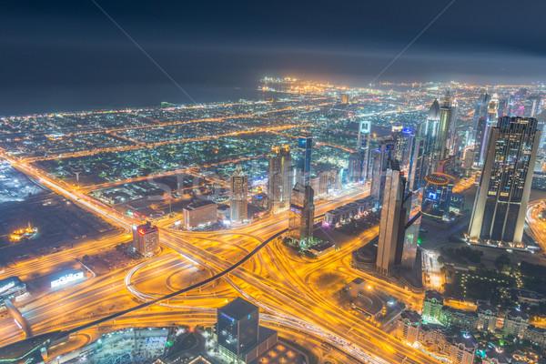 Panorama noche Dubai puesta de sol negocios oficina Foto stock © Elnur