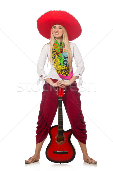 Woman wearing guitar with sombrero Stock photo © Elnur