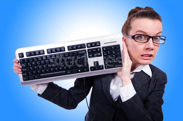 Inek öğrenci işadamı bilgisayar klavye beyaz iş kadın Stok fotoğraf © Elnur