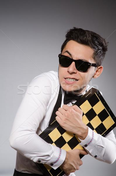 Engraçado xadrez jogador conselho madeira tabela Foto stock © Elnur