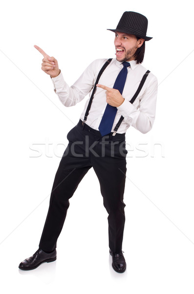 Man wearing hat and suspenders isolated on white Stock photo © Elnur