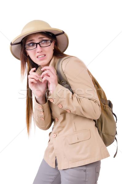 Nő visel szafari kalap fehér sport Stock fotó © Elnur