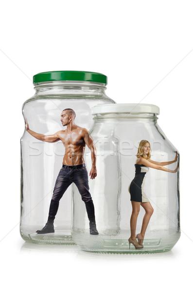 Emberek csapdába esett üveg bögre divat test Stock fotó © Elnur
