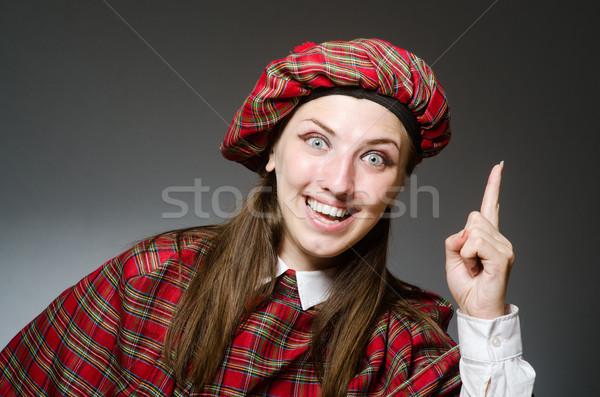 Kobieta tradycyjny odzież szczęśliwy worek Zdjęcia stock © Elnur