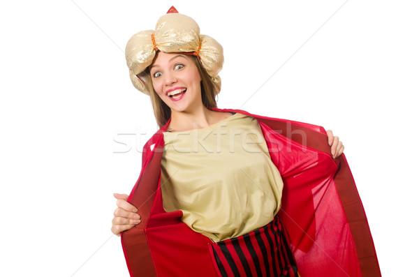 Vrouw Rood kleding geïsoleerd witte achtergrond Stockfoto © Elnur