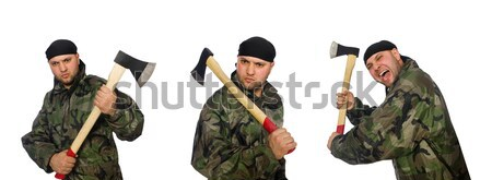Soldier with gun isolated on the white Stock photo © Elnur