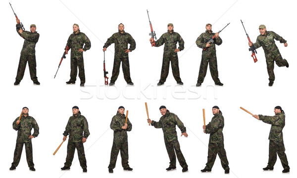Soldier with sniper rifle isolated on white Stock photo © Elnur