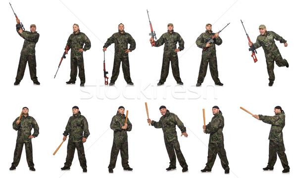 Stok fotoğraf: Asker · yalıtılmış · beyaz · adam