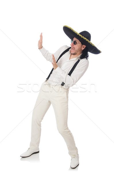 Man wearing mexican sombrero isolated on white Stock photo © Elnur