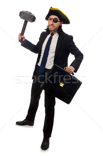 Pirackich biznesmen młotek teczki odizolowany biały Zdjęcia stock © Elnur