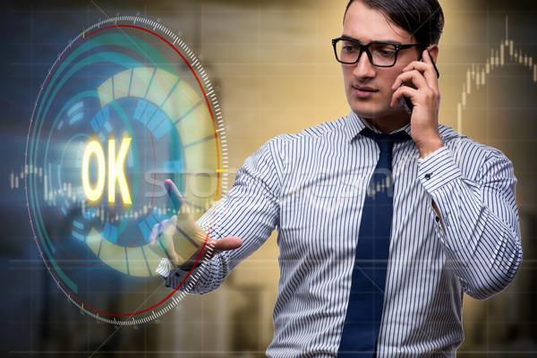 üzletember kisajtolás virtuális gomb ok üzlet Stock fotó © Elnur