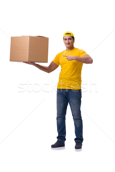 Stock photo: Funny delivery boy with box isolated on white