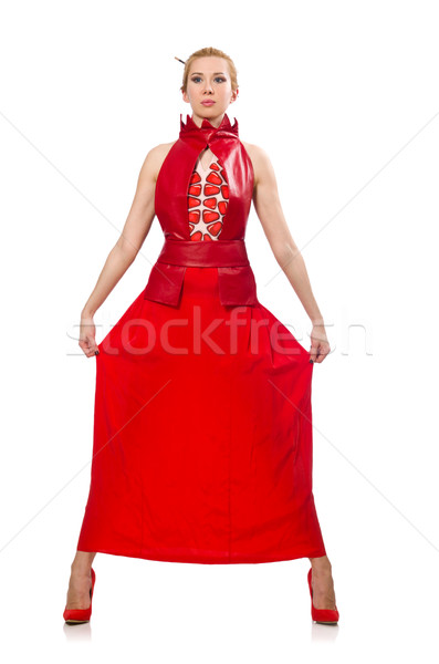 Blond hair model in dress with pomegranate isolated on white Stock photo © Elnur