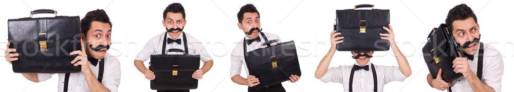 Junger Mann Aktentasche isoliert weiß Geschäftsmann Gläser Stock foto © Elnur