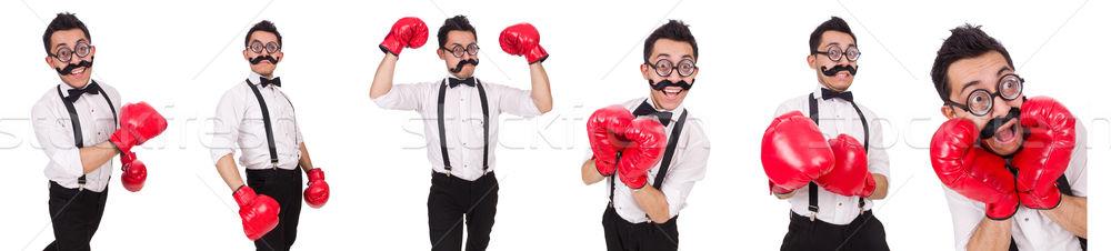Komik boksör yalıtılmış beyaz iş çalışmak Stok fotoğraf © Elnur