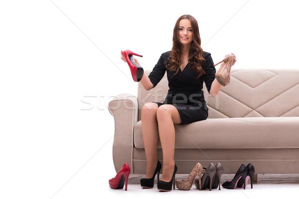 Kadın zor seçim ayakkabı ev gülümseme Stok fotoğraf © Elnur