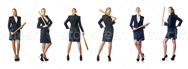 The businesswoman with baseball bat on white Stock photo © Elnur