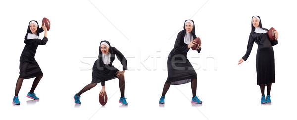 Pretty nun with rugby ball isolated on white Stock photo © Elnur