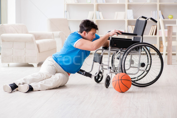 Young basketball player on wheelchair recovering from injury Stock photo © Elnur
