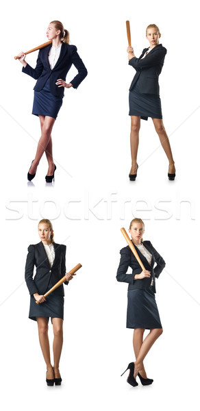 Businesswoman with baseball bat on white Stock photo © Elnur