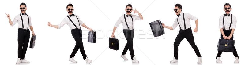 若い男 ブリーフケース 孤立した 白 ファッション ビジネスマン ストックフォト © Elnur