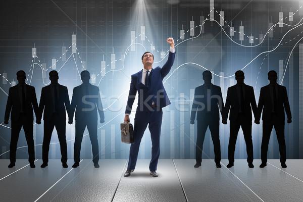 Geschäftsmann Rampenlicht Business Licht Menge Erfolg Stock foto © Elnur