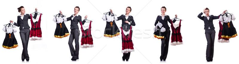 Kobieta trudny wyboru odzież model Zdjęcia stock © Elnur