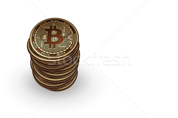 Bitcoins in blockchain cryptocurrency concept Stock photo © Elnur