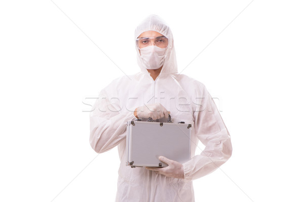 Criminologist in protective suit with steel case Stock photo © Elnur