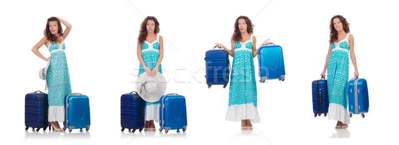 Vrouw reiziger koffer geïsoleerd witte strand Stockfoto © Elnur