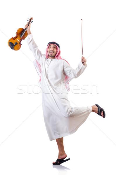 アラブ 男 演奏 バイオリン 孤立した 白 ストックフォト © Elnur