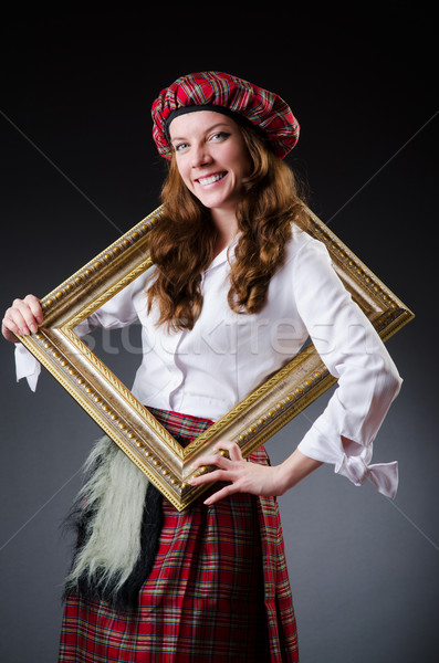 Scottish woman with frame on white Stock photo © Elnur