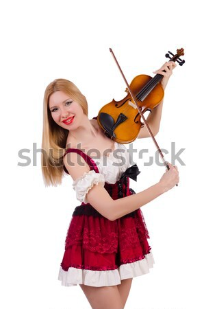 Girl playing violin on white Stock photo © Elnur