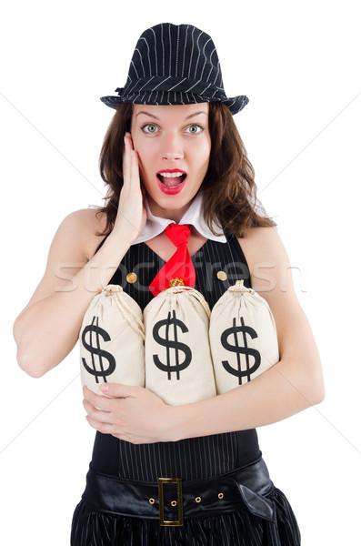 Vrouw gangster geld witte business achtergrond Stockfoto © Elnur